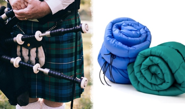Man in a kilt and sleeping bags